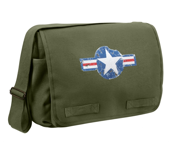 classic messenger bag vintage style us army air corp logo olive rothco 9756